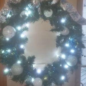 "Handmade 24"" decorated Christmas wreath"